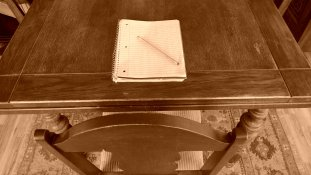 Table and notebook sepia